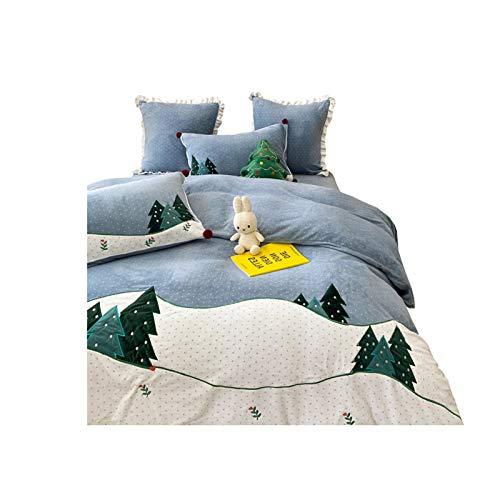 NAFE - Juego de sábanas y fundas de almohada de 4 piezas, juego de cama de matrimonio, reina otoño/invierno, tamaño Queen