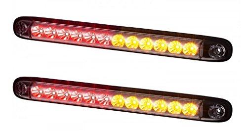 2 x LED Multifunktional STOPLICHT + POSITIONSLICHT + BLINKER 12V 24V mit E-Prüfzeichen Zusatzbremsleuchte Bremslicht Dritte LKW PKW Schutzklasse IP68
