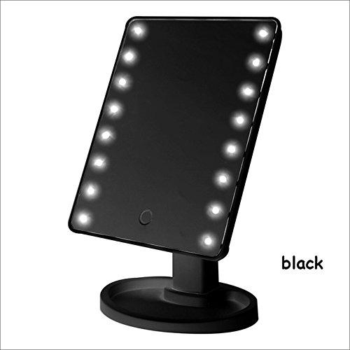 Bluelover Écran Tactile Miroir Cosmétique 16 LED Outil De Maquillage Lumière Réglable 360 Degré De Rotation Miroirs De Vanité-Noir