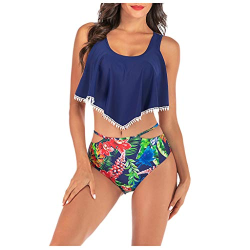Meclelin Damen Ruffles Bikini-Set 2020 Sommer Blumen Böhmischer Druck Bikini Badeanzug Set Rüschen Streifen Bademode Tankini Monokini