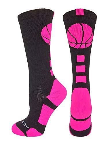 MadSportsStuff Basketball Logo Athletic Crew Socks, Medium - Black/Neon Pink