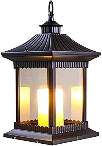 Linterna de césped con vista de vela para exteriores, lámpara de suelo de césped de vidrio transparente de alto brillo, luz de calle exterior para patio de jardín, IP65, resistente a la lluvia, luz d