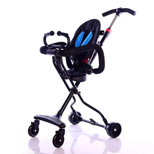 GYF Bebé Resbaladizo De Cuatro Ruedas Carro Reclinable Plegado Ligero Saca Al Bebé Combinación Interior Y Exterior (Color : Blue)