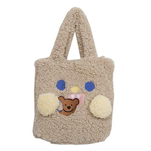 Sonline Mode PlüSch Winter Warme Damenhandtasche Netter B?R Cartoon Umh?Ngetasche L?Ssige Einkaufstasche Khaki