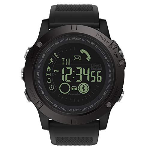 Montre Connectée Homme GOKOO Smartwatch Sport Militaire Bluetooth Montre Intelligente Multifonction Etanche Montre De Sport Fitness Tracker d'Activité Podomètre Calorie Compatible Avec Android IOS