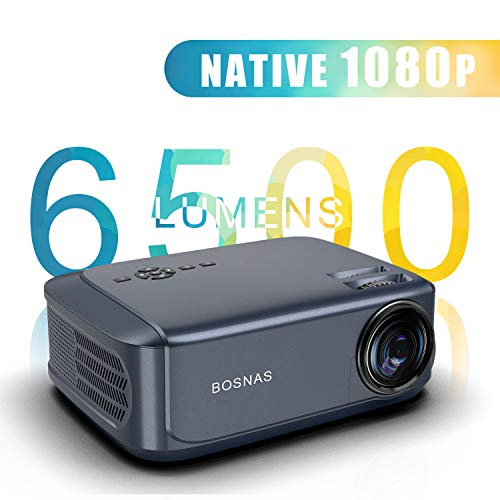 Beamer 6500 Lumen, Native 1080p Beamer Full HD,Video Projektoren für Office Powerpoint Präsentationen Heimkino,Unterstützt mit PS4 Xbox, Wii, HDMI, VGA, SD-Karten, AV- und USB-Geräten