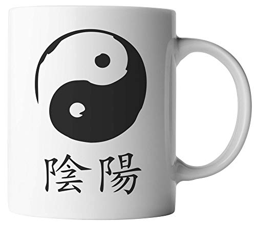 vanVerden Tasse - Yin & Yang - Meditation Zen Esoterik China - beidseitig Bedruckt - Geschenk Idee Kaffeetassen, Tassenfarbe:Weiß