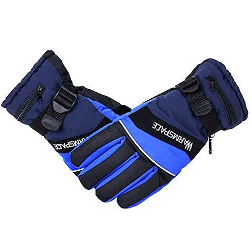TSSM Beheizte Handschuhe, beheizte Motorradhandschuhe, beheizte Elektrohandschuhe Motorrad für Herren und Damen Palmlederhandschuhe für das Winterskifahren, Skaten, Laufen, Gehen,Blau