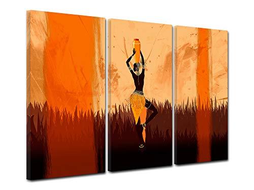 DECLINA Decina - Cuadro Africano para decoración de Pared, Marco Africano para salón, Lienzo Impreso, Cuadro triptico étnico, 90 x 60 cm, Lona, 90 x 60 cm