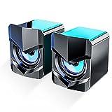 Iriisy Altoparlanti per PC Casse 3W Altoparlante Speaker USB Stereo Multimediale Ingresso Audio da 3,5 mm 2.0 Stereo Desktop per Computer, Smartphone, Tablet
