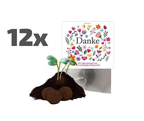 Ideenverlag 12x Danke Samenbomben als Mitgebsel / Geschenk / Aufmerksamkeit / Seedbombs / Partytüten / Mitgebseltüten / Geschenktüten / Danksagung / Bedanken / Give-aways / Geburtstag / Saatkugeln