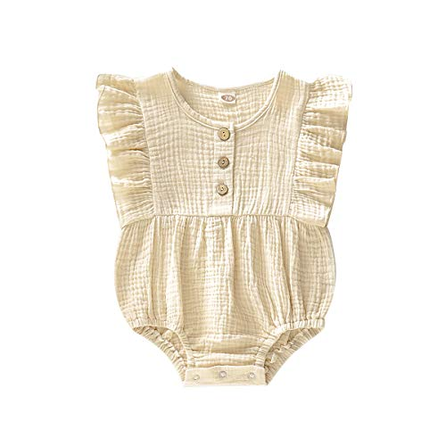 Happy Town Newborn Baby Girl Cotton Linen Solid Romper Ruffle Sleeve One-Piece Bodysuit Infant Summer Outfits