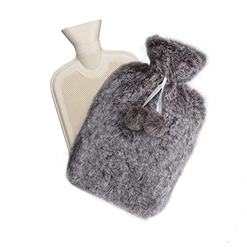SZELAM Bouillotte de 2 L avec housse tricotée amovible, lavable et confortable, en caoutchouc naturel pour le cou et les épaules, le dos, les jambes, la taille (gris)