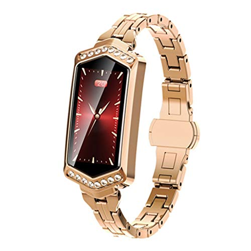 GLEMFOX dames-kleurenscherm, smart-armband, hartslagmonitor, slaapmonitor met fysiologische cyclusweergave, IP67 waterdicht, dames-sport-stalen bandhorloge voor Android en iOS goud