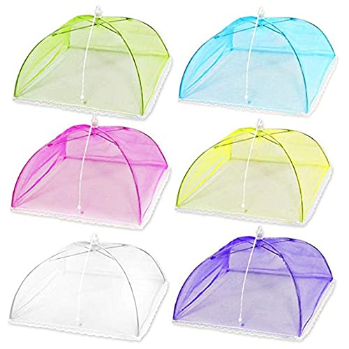zhichy 6 unids/set pop-up malla pantalla cubierta de alimentos tienda plegable paraguas cubierta de alimentos red cubierta cubierta cubierta de alimentos para el hogar al aire libre fiesta picnic