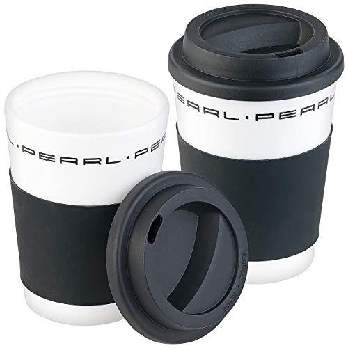 PEARL Thermotasse mit Deckel: 2er-Set Coffee-to-go-Becher mit Deckel, 350 ml, doppelwandig, BPA-f (Kaffeetasse für unterwegs)