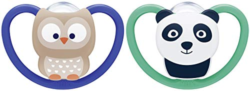 NUK Space chupete | 18-36meses | Chupetes con ventilación adicional | Silicona sin BPA | modelos/colores aleatorios | 2unidades