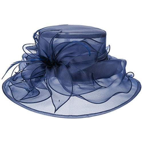McBurn Fatima Anlasshut Damen - Damenhut Flapper Festhut Frühling-Sommer Herbst-Winter - One Size blau
