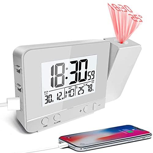 MCvilla Projektionswecker, Wecker Reisewecker mit Projektion USB-Anschluss Innentemperatur und Luftfeuchtigkeit Tischuhr Snooze Funktion-Silber