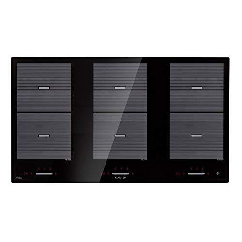 Klarstein Virtuosa Flex 90 Induktionskochfeld mit 6 Zonen und 10800 Watt Gesamtleistung - Kochplatte, Einbau-Kochfeld, Ceran-Oberfläche, Topferkennung, Restwärme-Anzeigec, 9 Stufen, schwarz