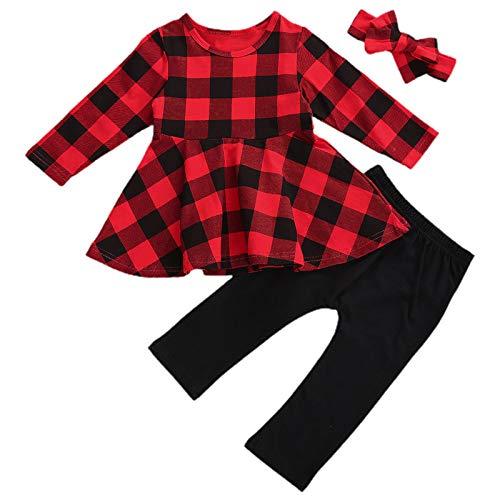 Toddler Kids Baby Girls Christmas Outfit Santa Print Shirts Tops Dress Pants Leggings Headband Halloween Clothes Set (Plaids Shirt 3Pcs, 18-24 Months)