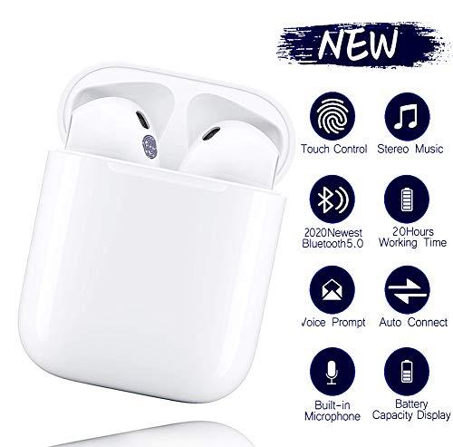 i12 TWS Bluetooth kopfhörer 5.0, Touch-Steuertasten, kabellose Ohrhörer mit Schnellladekoffer, 3D-Stereoanlage und wasserdichte IPX5-Ohrhörer für Apple Airpods/iPhone/Huawei/Samsung -White