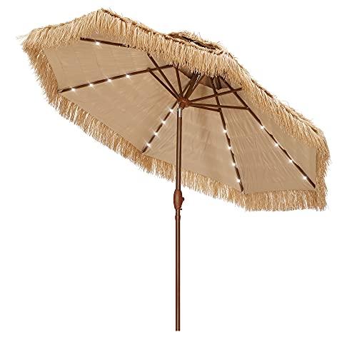 Ainfox 9 FT 2 Tiers Solar Hula Thatched Tiki Umbrella with LED Light, Hawaiian Pool Patio Beach Umbrella Natural Color (Wood Grain)