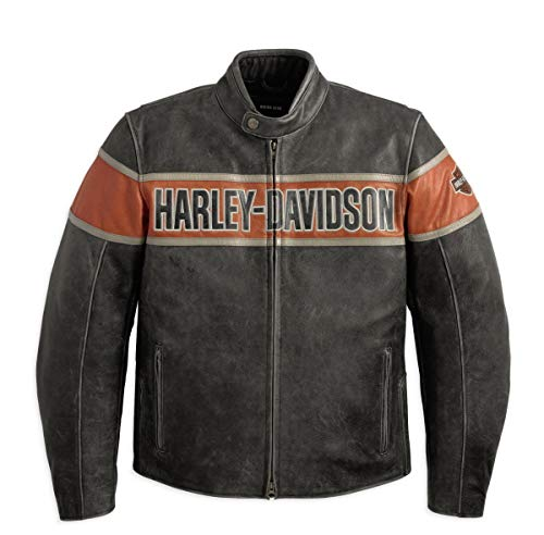 Harley-Davidson Men'S Victory Lane Leather Jacket (XXX-Large) Black/Orange