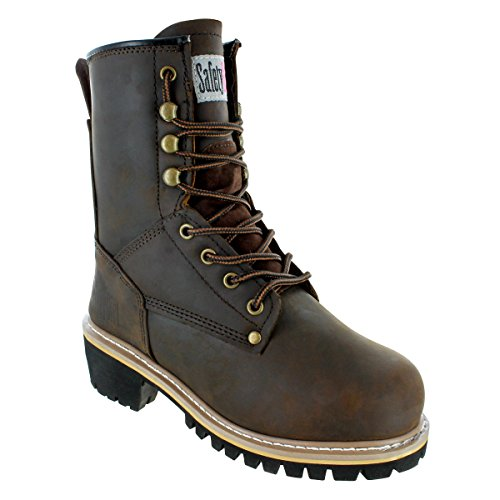 """Safety Girl GS009-BRN-ST-7.5 Safety Girl Women's 8"""" Logger Boot - Steel Toe 7.5, English, Capacity, Volume, Leather, 7.5, Brown ()"""