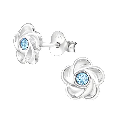 Flower Earrings with crystal from Swarovski (Aquamarine - various options): 925 Sterling Silver earrings for girls - Sterling Silver studs – silver ear stud earrings - gift box