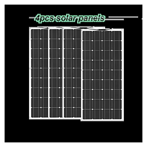 ZhuFengshop Panel Solar Flexible 12v 1 Uds ~ 10 Uds 18v 120W Negro V 18V 24v 36v 36v 240w 360W 600W 1200W Cargador De Batería De Coche del Barco De La Casa De Camping (Color : 4 pcs Solar Panel)