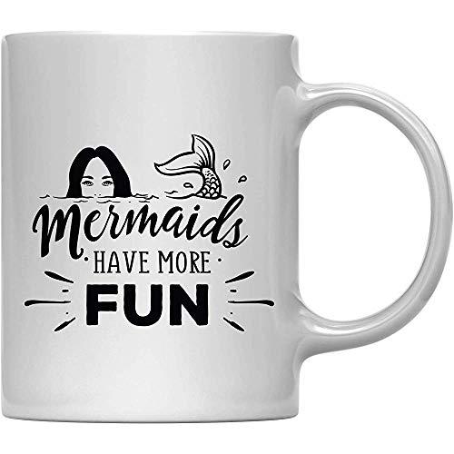 Koffiemok cadeau, zeemeerminnen hebben meer plezier, 1 verpakking, verjaardag Kerstmis buiten limonade mok met geschenkdoos