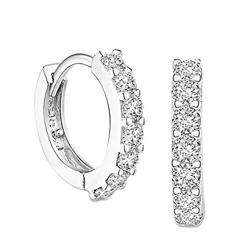 1 par de pendientes de plata de ley para mujer y hombre, pendientes chapados en cobre brillantes para niñas, joyería de moda con circonita cúbica (plata S)