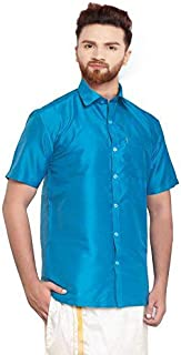SJS-Men's Half Sleeve Solid Art Silk Shirt (Sky Blue, 36)