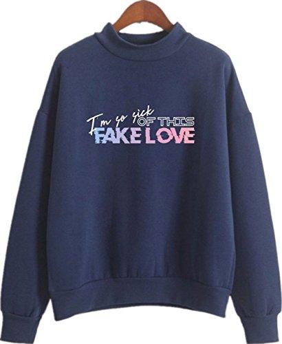 SERAPHY Unisex Rollkragenpullover Fake Love Sweatshirt für Army Suga Jimin Jin Jung Jook J-Hope Rap-Monster V 8143 königlich M