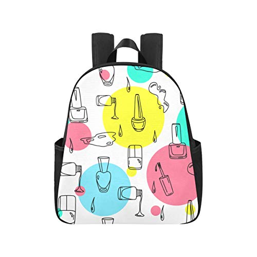 Colourful Nail Polish Backpack College Student 12.40x5.12x14.17inch Back Pack Multipurpose Casual Backpacks for Teens Business Travel School,Office
