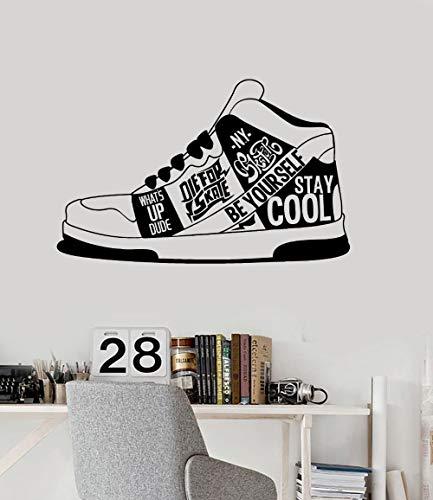 tzxdbh creatieve Sneakers muur Sticker Vinyl Decals stedelijke stijl citaat tiener kamer Stickers verwijderbare muurschildering moderne stijlvolle Home Decor 67 * 42cm