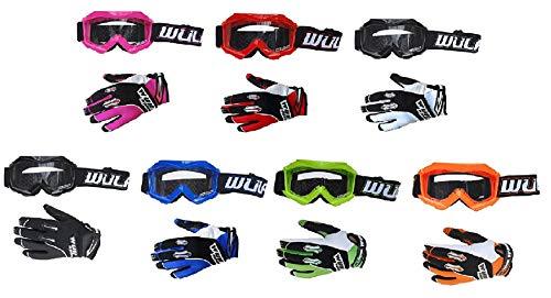 WULFSPORT Stratos - Guantes MX para niños con Motocicleta, Motocross, Todoterreno, Quad, Kart, Suciedad, Pit, Bicicleta, ATV, MTB, BMX, Carrera, niños, Infantil, Negro y Azul, Extra-Small