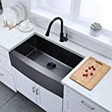 VESLA HOME 33 Inch Apron Front Stainless Steel Black Farmhouse Sink, Drop in Black Farmhouse Kitchen...