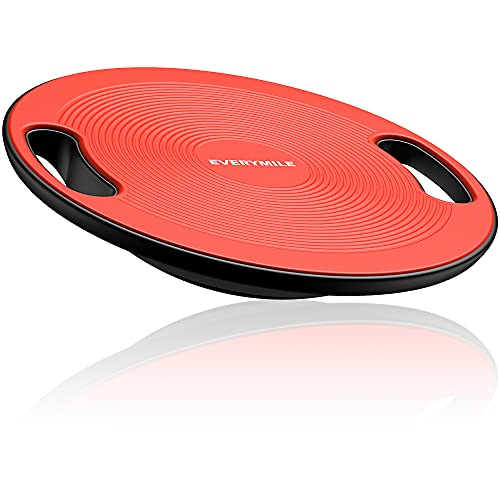 EVERYMILE Wobble Balance Board, Exercise Balance Stability Trainer Portable Balance Board with Handle for Workout Core Trainer Physical Therapy & Gym 15.7' Diameter No-Skid Surface