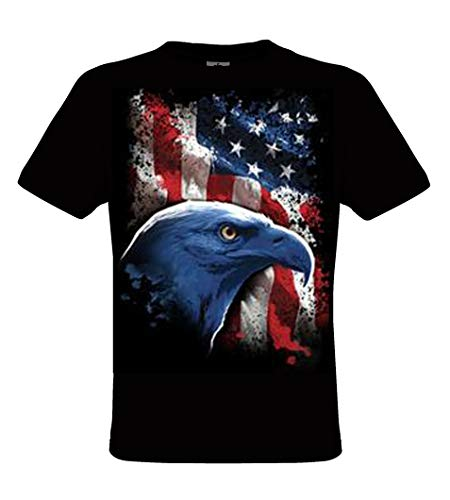 DarkArt-Designs Lifestyle T-Shirt American Eagle - Aigle T-Shirt pour Messieurs - Motif d'animal Regular fit, Noir, XL