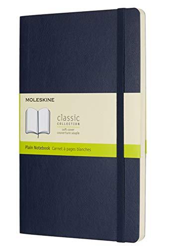 Moleskine - Cuaderno Clásico con Hojas Lisas, Tapa Blanda y Cierre Elástico, Color Azul Zafiro, Tamaño Grande 13 x 21 cm, 192 Hojas