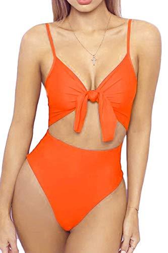 Coscoach Damen-Bikini mit hoher Taille, Spaghetti-Träger, Knoten vorne, hoher Schnitt, einteiliger Badeanzug - Orange - Large