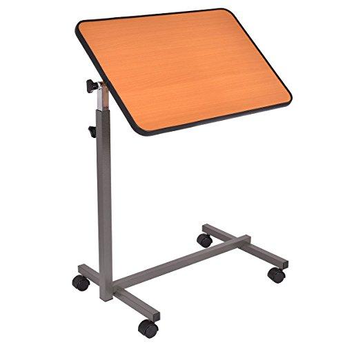 Overbed Rolling Table Adjustable Bed Laptop Desk Tilting Top Food Over Tray Hospital Medical Bedside (Beige table top)