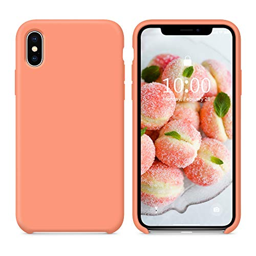 SURPHY Silicone Case for iPhone X iPhone Xs Case, Soft Liquid Silicone Shockproof Phone Case (with Microfiber Lining) Compatible with iPhone Xs (2018)/ iPhone X (2017) 5.8 inches (Peach)