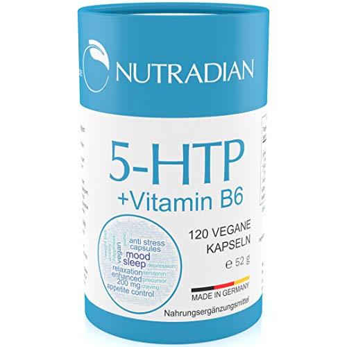 Nutradian 5-HTP 120 vegane Kapseln x 200mg Griffonia Extrakt und Vitamin B6 ohne Zusätze | 4 Monate Vorrat
