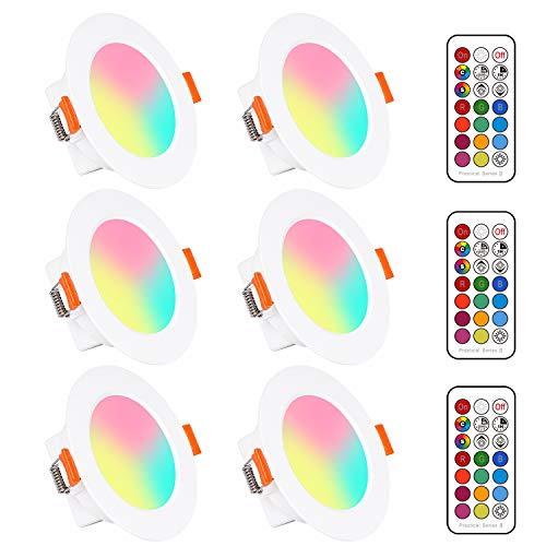 LED RGB Einbaustrahler 6 x 5W Leuchtmittel Warmweiß 2700K Deckenstrahler Deckenspots Deckenleuchte Einbauspots Deckeneinbauleuchte Deckeneinbaustrahler Rund Drehbar