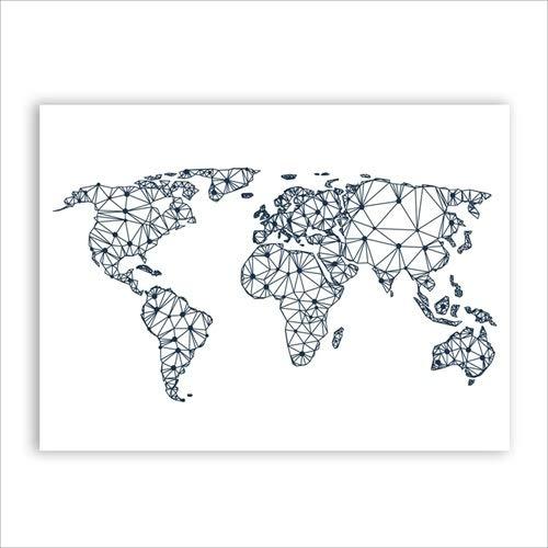 WSF-CARTE, 1PC World Carte Toile Art Imprimer Affiche murale Photos murales, abstrait Carte du monde Toile Peinture Accueil Salon Salon Décoration murale