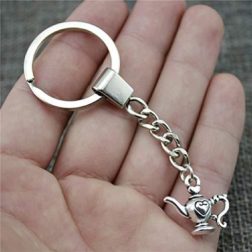 N/ A ZHTTCD Fashion Sleutelhanger Metalen sleutelhanger Sleutelhanger Sieraden GiftAntiek Verzilverd Theepot 21x19mm Hanger