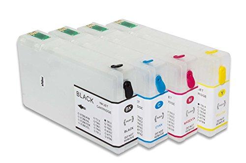 vhbw Cartuccia CISS vuota, cartucce di inchiostro vuote Set B/C/M/Y con Chip per Epson Workforce Pro WP-4515, WP-4515DN, WP-4525, WP-4525DNF, WP-4535
